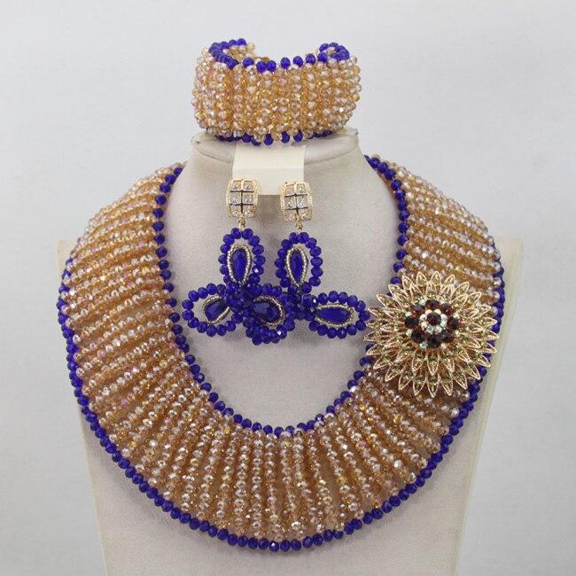 Großhandel Gold/Champagne Afrikanische Perlen Schmuck Set Royal Blue Nigerian Halsketten Armband Ohrringe Set Geschenke Freies Verschiffen QW682 - 5