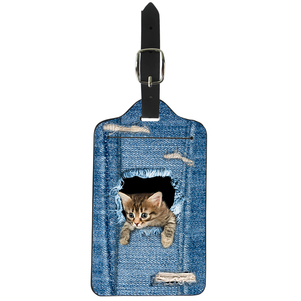 ELVISWORD Denim Cats 3D Printing Luggage Tags Blue Funny Anmals Travel Accessories Women Girls Label Card Bagage Suitcase Cover