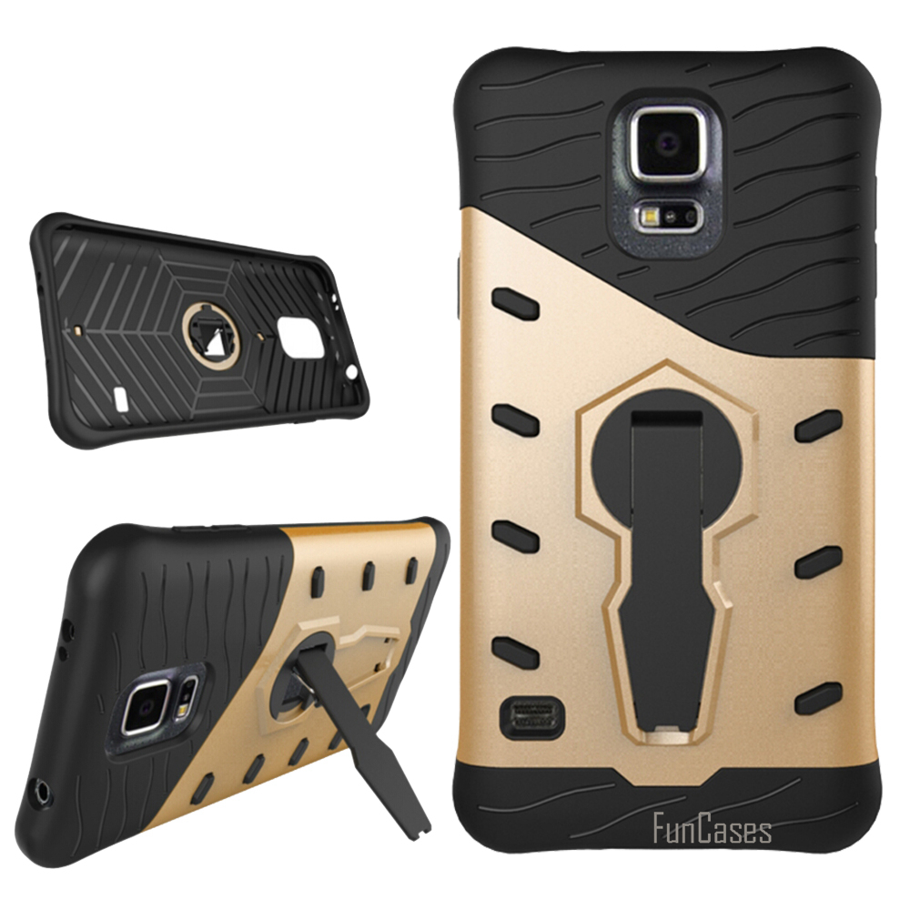 New For Samsung Galaxy s5 Case 360 Degree Rotation Bracket for Samsung s5 Phone Case Hard Hybrid TPU & PC for Samsung i9600 5.1
