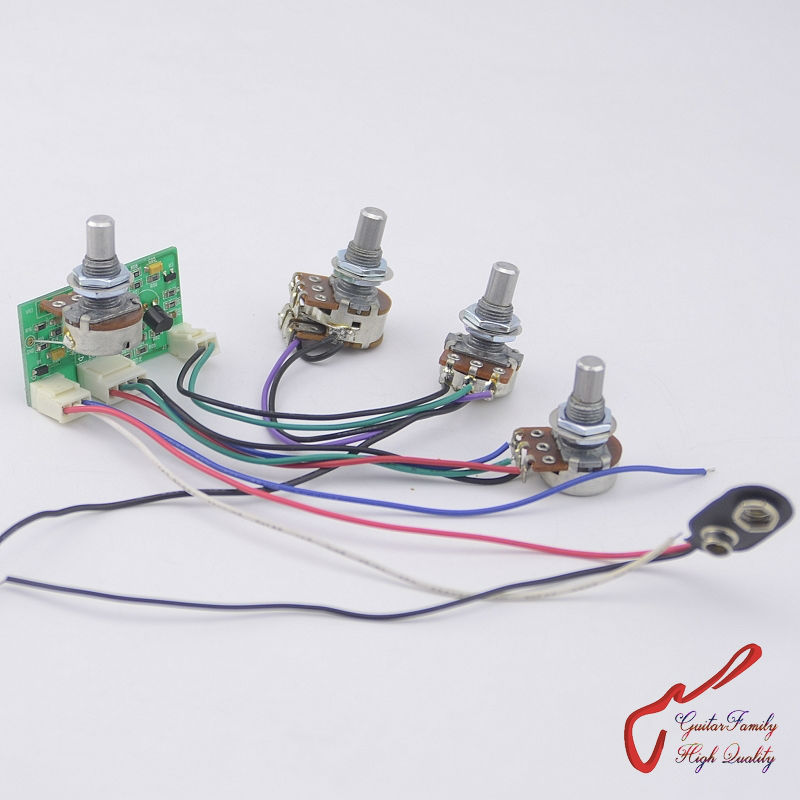 1 Set GuitarFamily Active 2 Band EQ Preamp Circuit For Passive Bass Pickup MADE IN KOREA ( #1251 ) 1 set guitarfamily original genuine electric bass pickup for epiphone thunderbird 1268 made in korea
