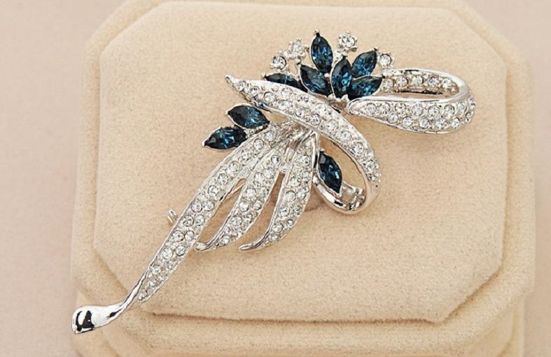 SHUANGR Luxury Crystal Flower Brooch Lapel Pin Rhinestone Jewelry Women Wedding Hijab Pins Large Brooches For Women brooches 14