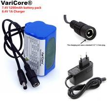 VariCore Protect 7.4 V 5200 mAh 8.4 V 18650 Li-lon Battery bike lights Head lamp special battery pack DC 5.5MM+ 1A Charger