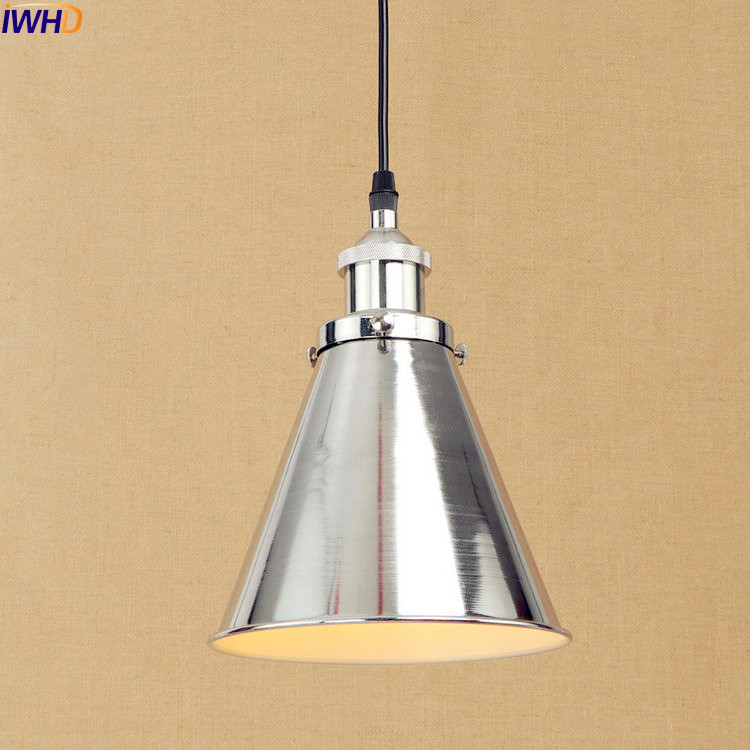 IWHD Silver Lampe Vintage Pendant Lights Fxitures Dinning Room LED Edison Style Loft Industrial Lamp Hanglamp Home Lighting iwhd glass style loft industrial pendant lighting fixtures dinning room american bombilla edison led vintage lamp light lampara