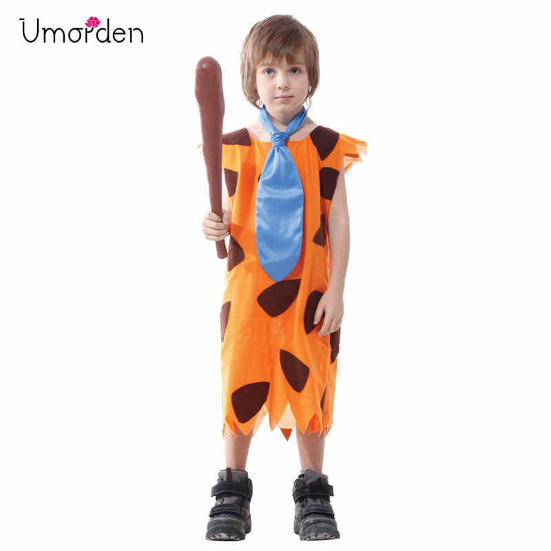Umorden Kids Children Primitive Savages Cosplay Stone Age Boys Costume Halloween Carnival Fred Flintstone Costumes Party Dress