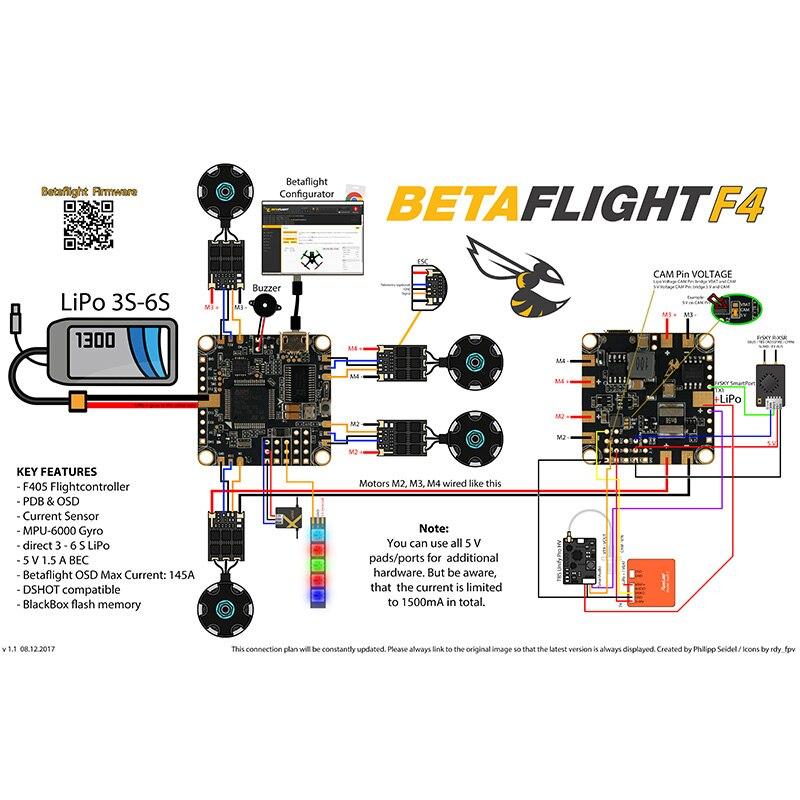 100% حقيقية Betaflight F4 وحدة تحكم في الطيران F405 المعالج MPU6000 الدوران/ACC BEC ماكس الحالي 5 فولت 1.5A ل DIY RC سباق Drone-في قطع غيار وملحقات من الألعاب والهوايات على  مجموعة 2