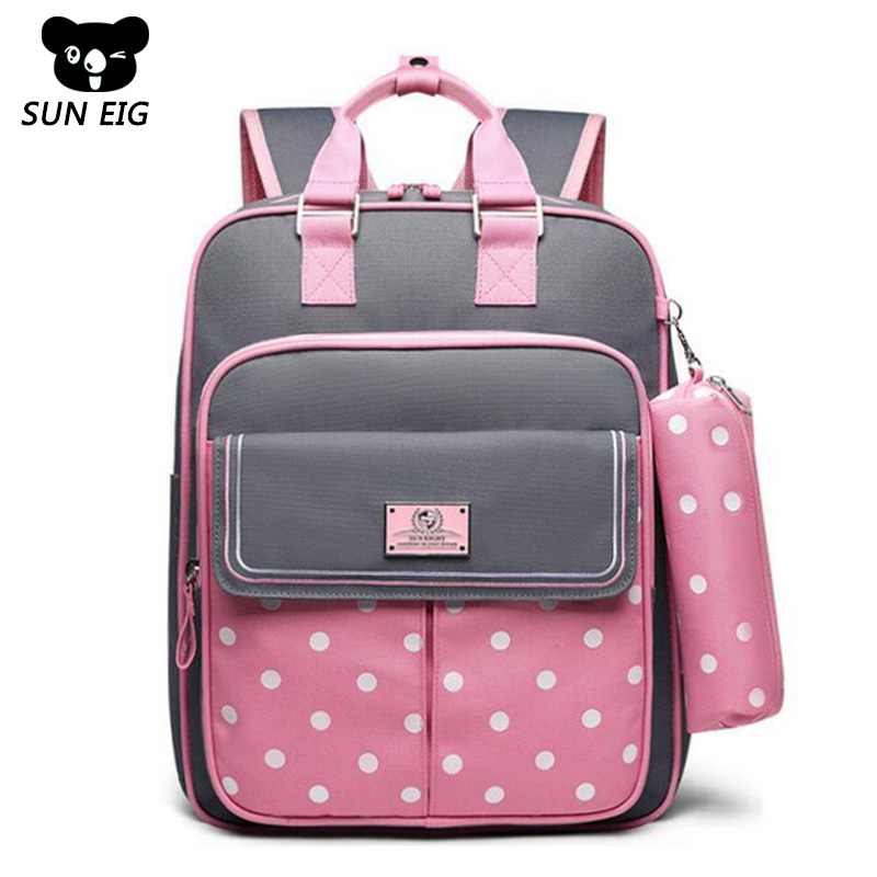 Orthopedics School Bags For Girls Dot Cute Children School Backpack For Teenage Girls High Quality Nylon Schoolbag Grades 1-6