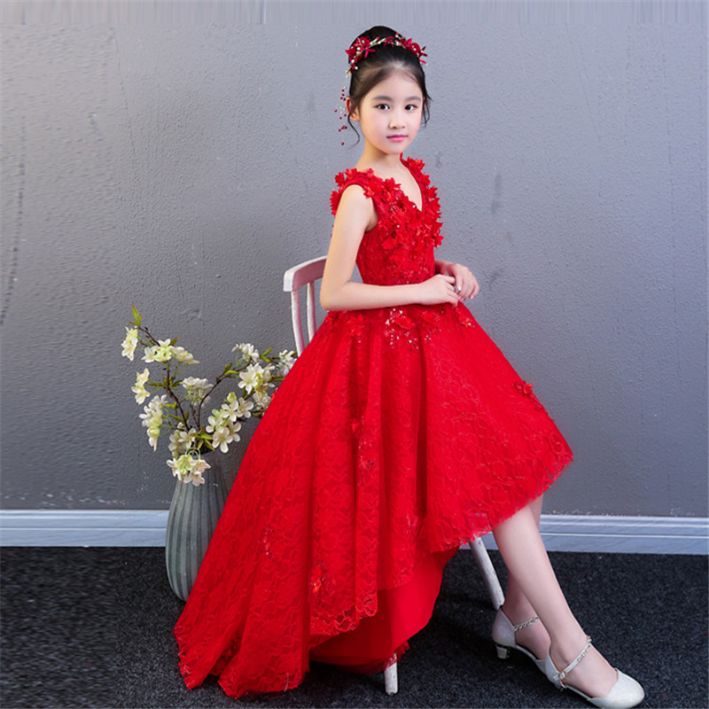 2018 Summer New Children Girls Fashion Bright Red Color V-Collar Birthday Wedding Party Tail Dress Kids Model Show Pageant Dress collar color block striped dress