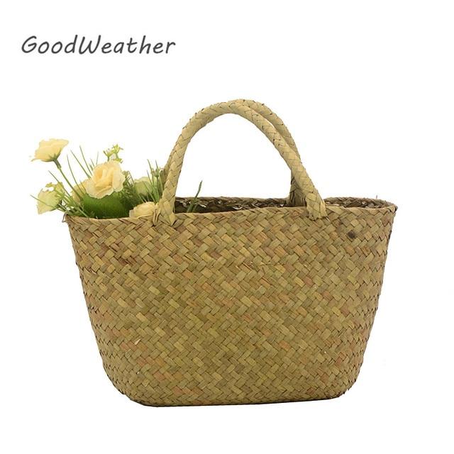 c370ecfe975e Повседневное пляжная сумка соломы Природные Плетеная Мини Летнее  напульсники сумки женские плетеные сумки сплетенные ручной работы