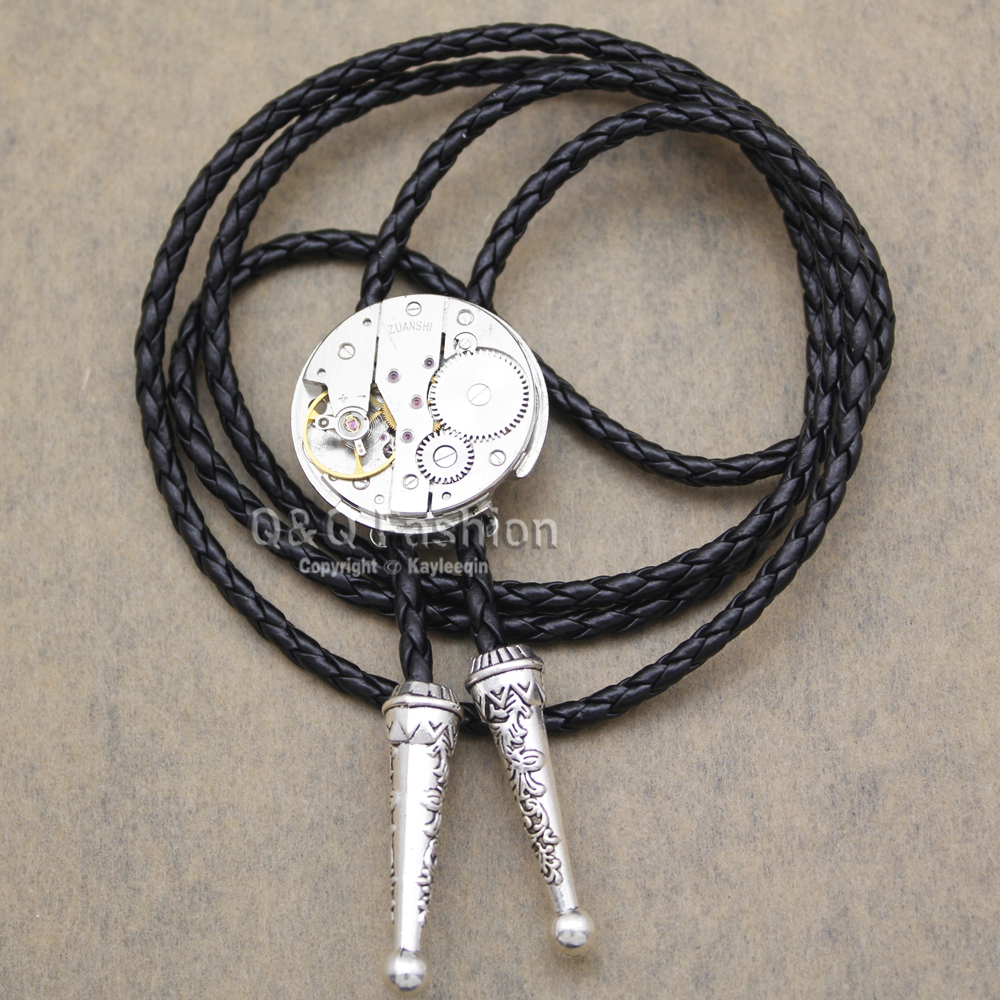Bekleidung Zubehör WunderschöNen Männer Silber Uhr Bewegung Steampunk Westlichen Halskette Bolo Bola Krawatte Line Dance Hoch Gute Qualität Schmuck