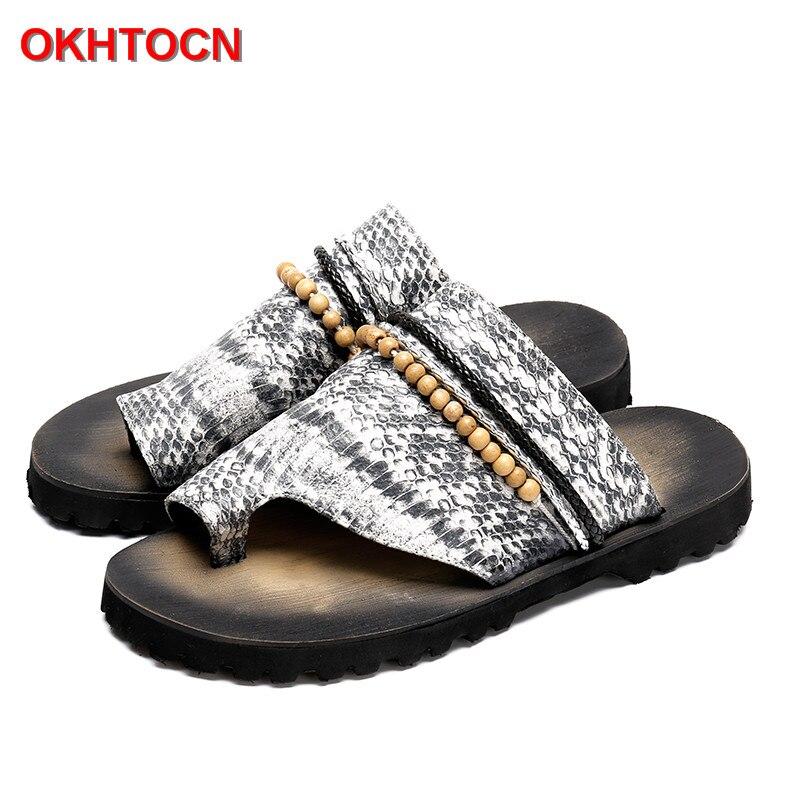 Okhotcn 2018 جديد الأفعى الرجال الرجال الصيف الأحذية صندل النعال الرجعية الكلاسيكية سلسلة حبة الشاطئ أحذية المطاط عدم الانزلاق الوجه يتخبط-في صنادل بإصبع من أحذية على  مجموعة 1