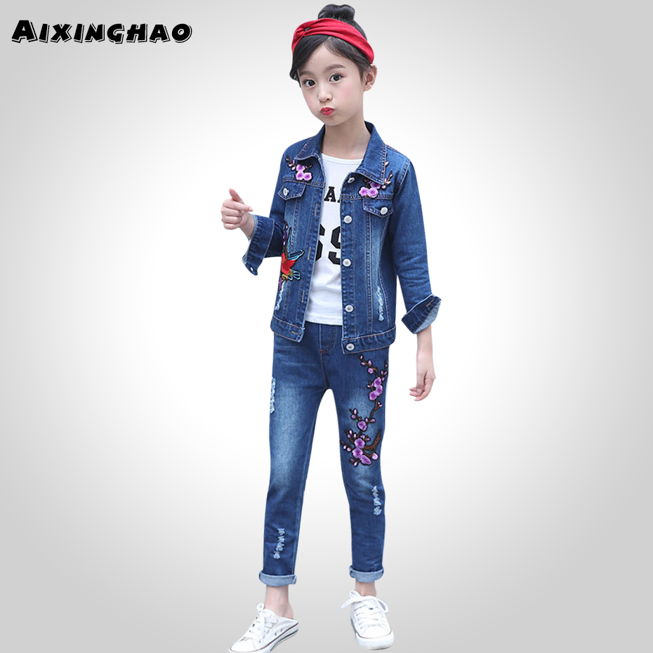 Girls Clothes Set Denim Jackets + Jeans Pants 2PCS Set For Girls Flower Embroidery Clothes For Girls 6 8 10 12 13 14 YearClothing Sets   -