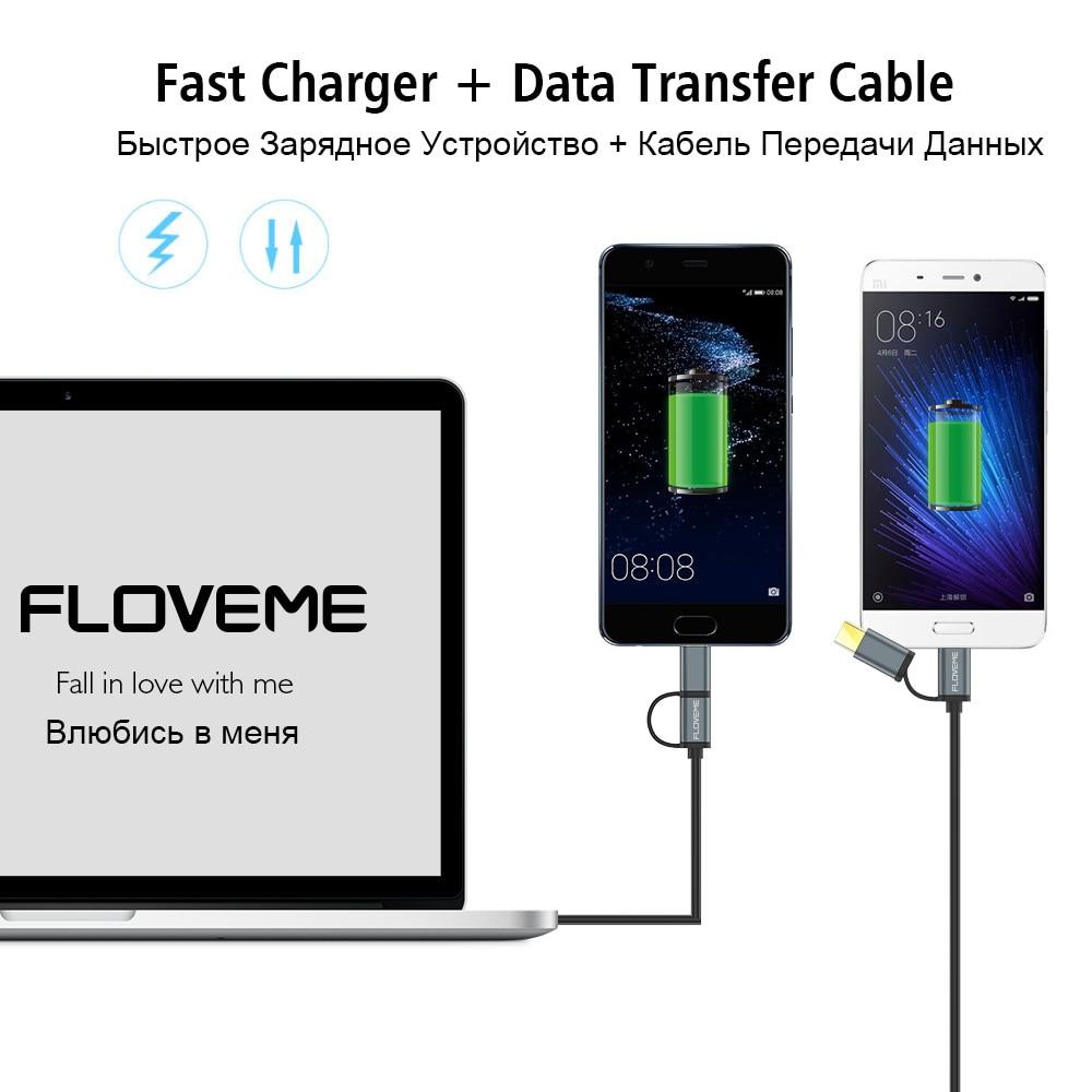 FLOVEME 2 i 1 Micro USB-kabel typ C QC 3.0 USB-C-kabel Snabbladdare - Reservdelar och tillbehör för mobiltelefoner - Foto 4