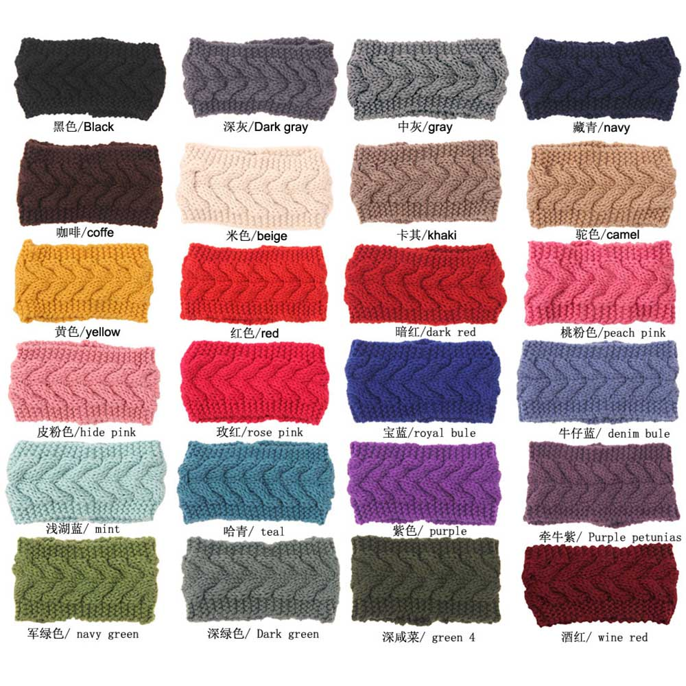 Women Crochet Braid Solid Hair Band Warm Knitting Ear Wide Headband For Girls Handmade Turban Hair Accessories