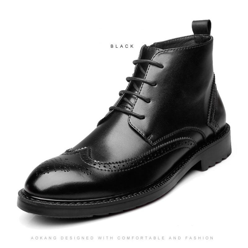 YIGER Genuine Leather Boots for Men 16