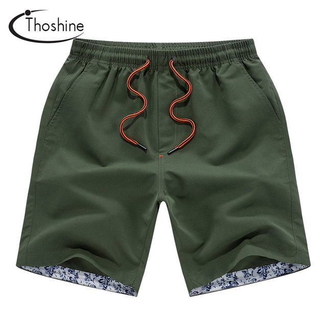 Thoshine 2018 Summer Casual Shorts Men Half Length Loose Style Beach Shorts Brand Breathable Mens Board Shorts Solid Beachwear