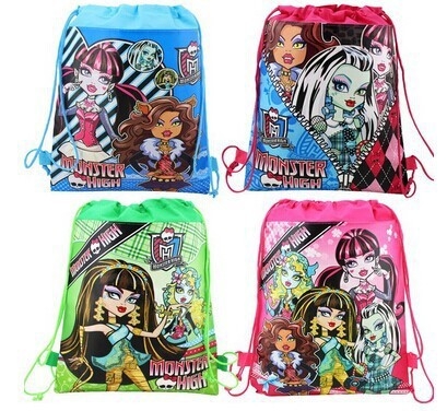 12Pcs Monster Hight Girls Cartoon Kids Drawstring Printed Backpack Shopping School Traveling Party Bags Birthday Gifts