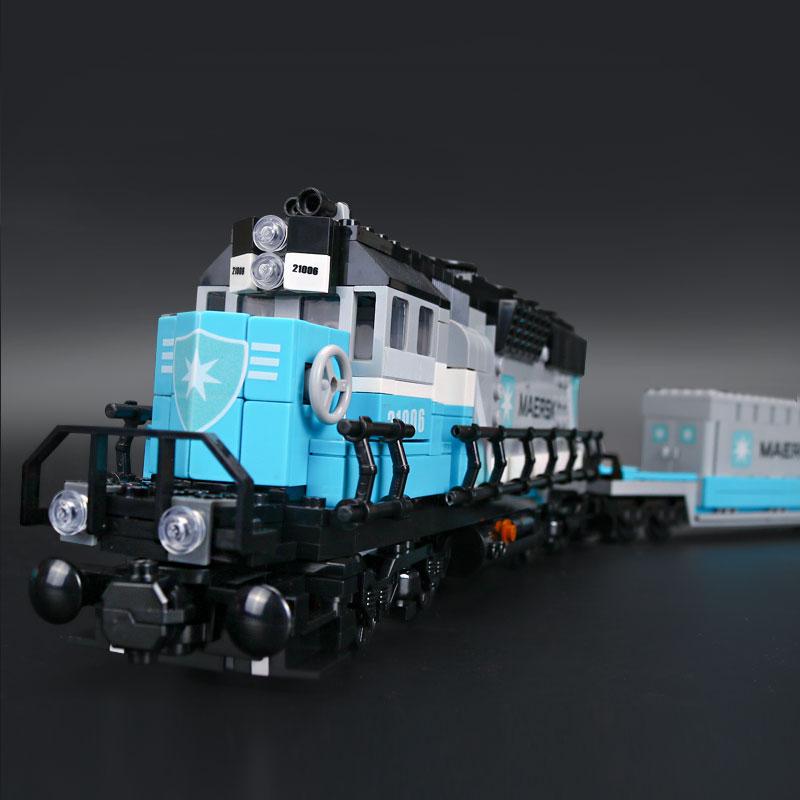 1234Pcs Blocks Toy Lepine 21006 Ultimate Maersk Train Set Model Building Kit Educational Children Compatible Legoe Technic 10219 lepine model