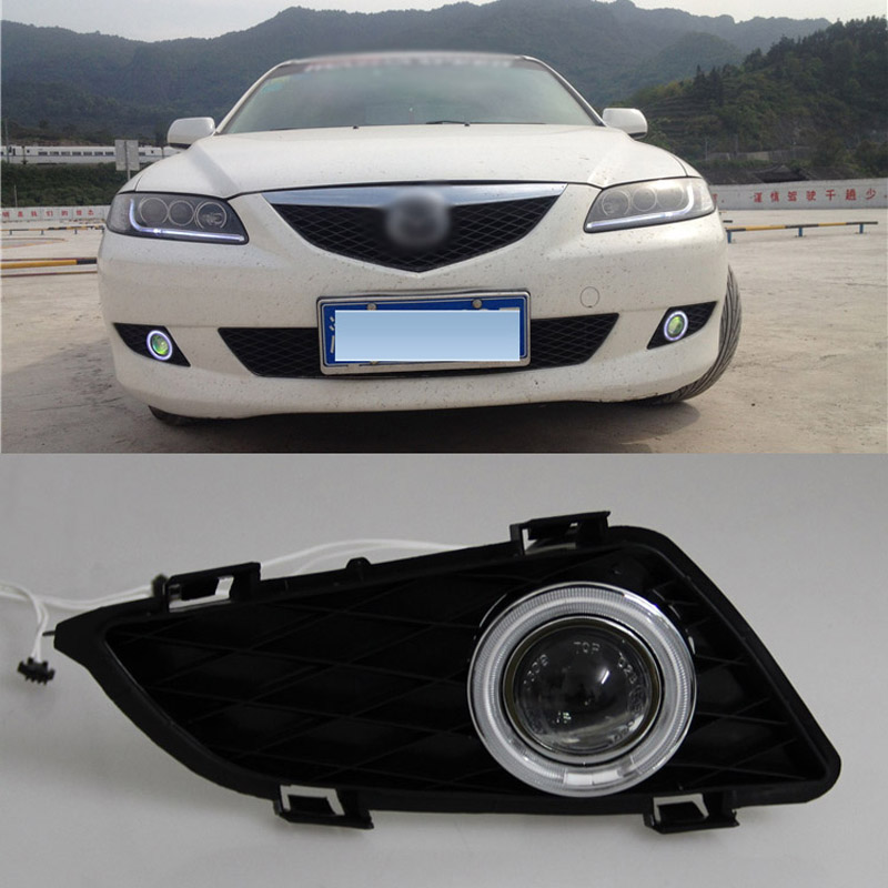 Ownsun COB Angel Eye Rings Projector Lens with 3000K Halogen Lamp Source Black Fog Lights Bumper Cover For Mazda 6 2004-2005 for opel astra h gtc 2005 15 h11 wiring harness sockets wire connector switch 2 fog lights drl front bumper 5d lens led lamp