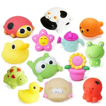 Animals Swimming Water Toys Colorful Soft Floating Rubber Duck Squeeze Sound Squeaky Bathing Toy For Baby Bath Toy