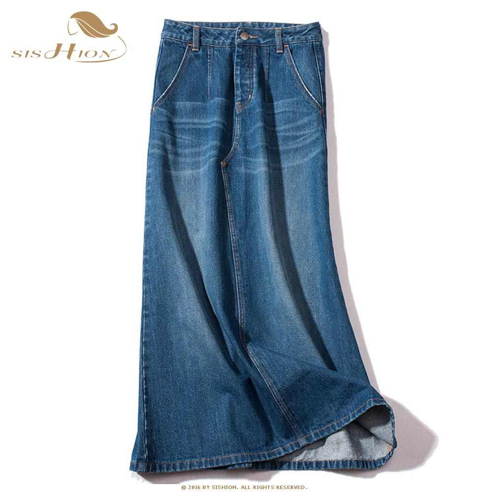 SISHION Denim Rock Dark Blue Frauen Herbst Casual Hohe Taille Denim Röcke EINE linie Schlank jean Maxi Langen Rock VD0900