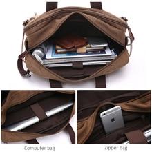 Men Canvas Bag Leather Briefcase Travel Handbag