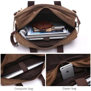Image 3 - Scione Men Canvas Bag Leather Briefcase Travel Suitcase Messenger Shoulder Tote Back Handbag Large Casual Business Laptop Pocket