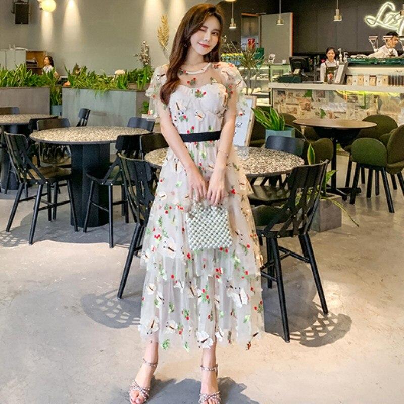 2019 piste été douce robe femmes élégant à manches courtes maille fleur broderie vacances volants longue robe