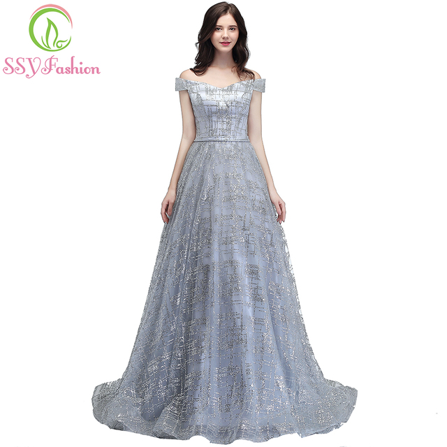 SSYFashion New Luxury Sequined Long Evening Dress The Bride Banquet Elegant  Blingbling Prom Party Gown Robe De Soiree 6 Colors 2c256cd06