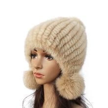 2015 New mink hat Ladies fashion Fox fur ball Mink knit hats Casual Female Headgear