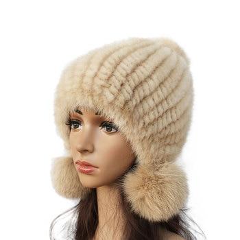 Fashion Women Real mink hat Winter warm mink fur knit hats Women fox fur ball cap women winter hats new knitted mink fur hats genuine mink cap with fox fur pom poms 2018 new female real fur bomber hat for women
