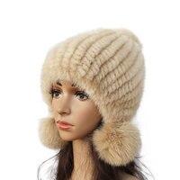 Mode Frauen Real nerz hut Winter warm nerz stricken hüte Frauen fuchs pelz ball kappe-in Pudelmützen und Beanies aus Kleidungaccessoires bei