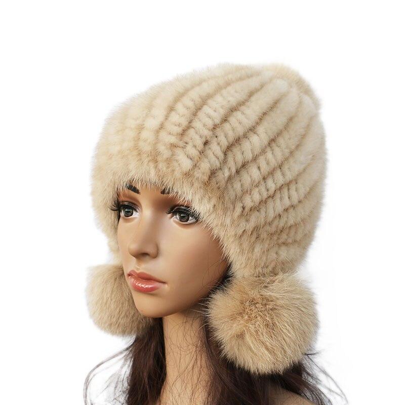 Sombrero de visón Real de mujer de moda de invierno cálido de piel de visón de punto sombreros de mujer de piel de zorro