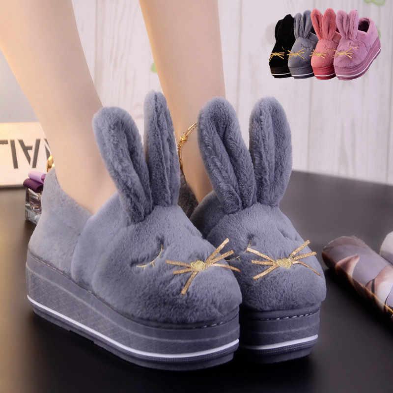 Зимняя Теплая Бархатная хлопковая обувь с милым рисунком; домашняя обувь на толстой подошве; женские хлопковые тапочки; европейский стиль; большие размеры 9, 10, 40, 41.