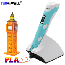 Myriwell 2018 New 3D Printing Pen 3.7V 1500mAh Wireless Charging Kids 3D Drawing Pen With Free 30m PCL Filaments