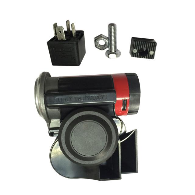 120db Cuerno Electrónico Universal Compacto Caracol de Doble Tono de Bocina De Aire Rojo Sirena Del Coche Camión de Van Motocicleta Barco