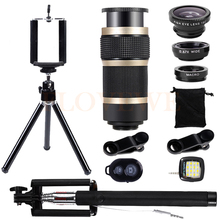Wholesale Mobile lenses Kit Selfie lamp Tripod 8X Telescopic Telephoto Lentes Wide Angle Macro Fish eye Lens For Phone iPhone 7 Smartphone
