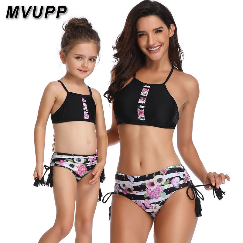 87ad13c11c family swimwear mother and daughter clothes swimsuit tassels high waist  Floral striped mommy me baby girl