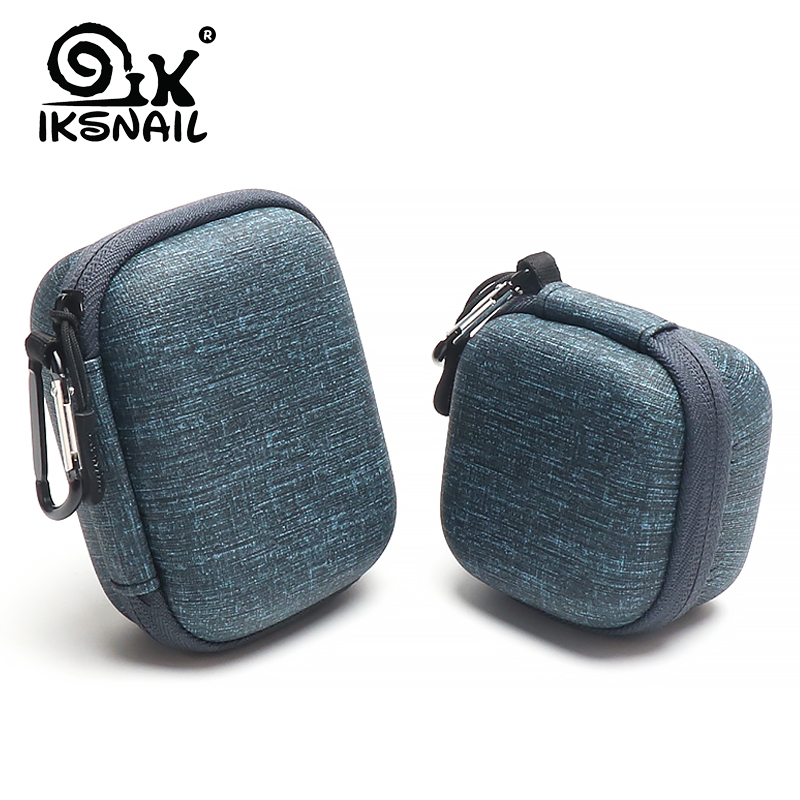 IKSNAIL EVA Hard Zipper Mini Earbuds Earphone Case For BlueBuds Leather Case In-ear Bluetooth Earphone Bag Charger Organizer