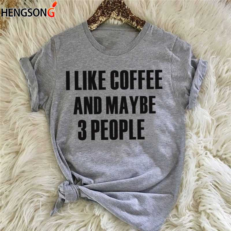 I Like Coffee and Maybe 3 People Lettering Tops for Women Girls fashion women fashion gray casual slogan tee tumblr shirt