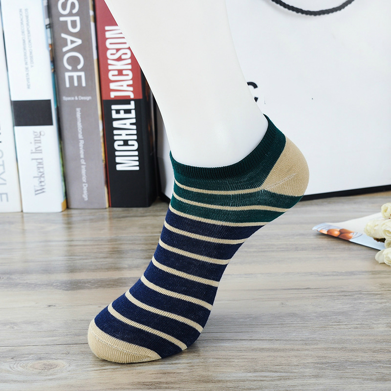 10 Pair /lot 5 Color Fashion New Casual Mens Summer Socks Stripe Stitching Colors Design Breathable Comfortable Couple Boat Sock