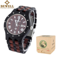 BEWELL Wood Watches Men Luminous Hands Fashion Casual Auto Date Wristwatch With Wooden Male Watches