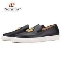 Piergitar/Новинка 2019 года; черные мужские кроссовки из натуральной кожи ручной работы; мужская повседневная обувь с вышивкой из индийского шелк