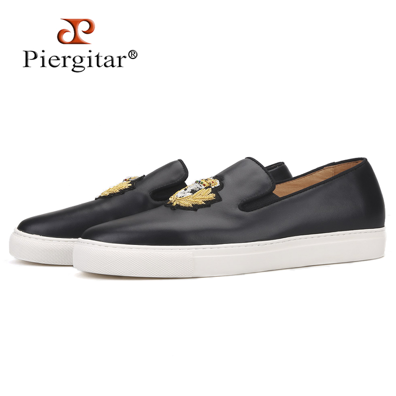 Piergitar 2019 New Black Colors Genuine Leather Men Sneakers Handcrafted Indian Silk Embroidery Men's Casual Shoes White Bottom