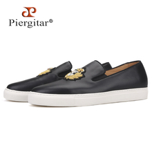 Piergitar 2020 new black colors Genuine Leather Men sneakers Handcrafted Indian silk embroidery mens casual shoes white bottom