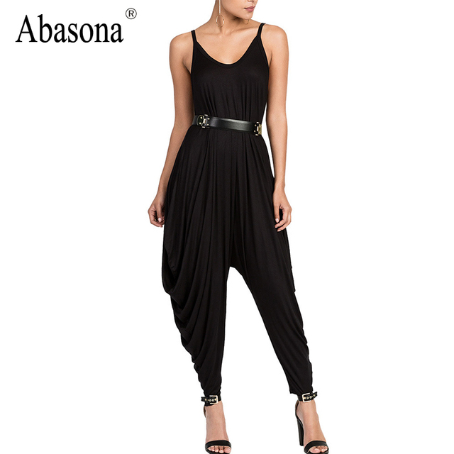 Abasona Draped strappy loose bodycon bandage jumpsuits Autumn fashion overalls for women Sexy night club rompers womens jumpsuit