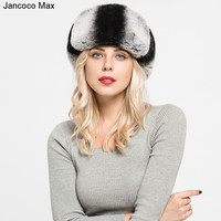 Jancoco Max 2017 New Arrival Top Quality Real Rex Rabbit Fur Sheepskin Leather Hats Fashion Style