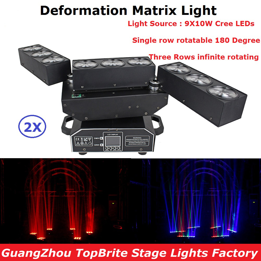 2 Unit DJ Equipments 9X10W RGBW 4IN1 LED Deformation Matrix Beam Moving Head Light For Stage Party Wedding Christmas Decoration
