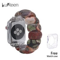 LuReen Agate Watchband Handmade Natural Stone Elastic Watch Bands iWatch Apple Watch Strap Bracelet Replacement Band 38mm/42mm