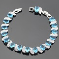 Light Blue Created White CZ Bracelets For Women Silver Plated Jewelry Free Gift Box