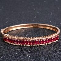 Robira 2017 Мода 18 К розовое золото браслет для Для женщин Браслеты любовник браслет ювелирных изделий Природный Рубин браслет Pulseiras